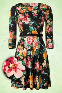 50s Perfume Floral Skater Dress in Black