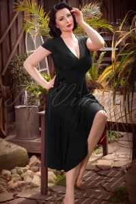 TopVintage exclusive ~ Layla Cross Over Dress Années 50 en Noir