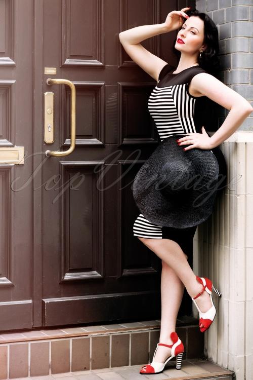 Vintage Chic Striped Midi Dress Black White 100 14 15812 20150528 Ava02W