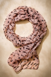 I'm More A Cat Person Scarf Années 60 en Rose