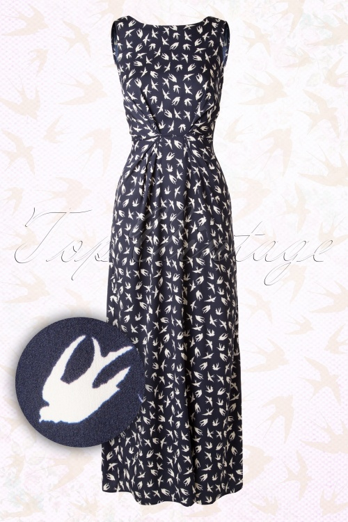 50s Maxine Swallow Maxi Dress in Navy and Ivory
