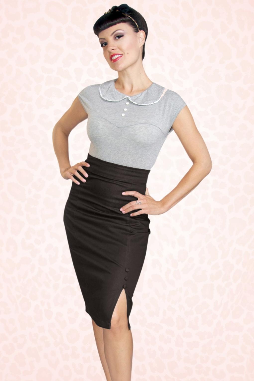 Stretch Denim Skirt Black