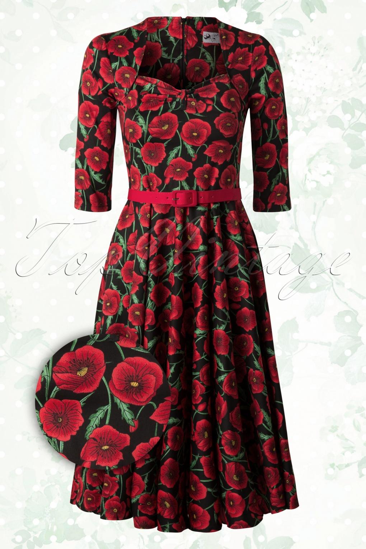 Eternity 50s Poppy Swing Dress Red And Black