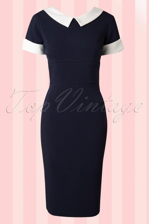 The pretty dress company bella crepe navy pencil dress 100 31 13723 20141031 005W