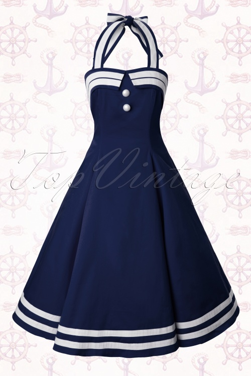 50s Sindy Doll Sailor navy swing dress 2444W