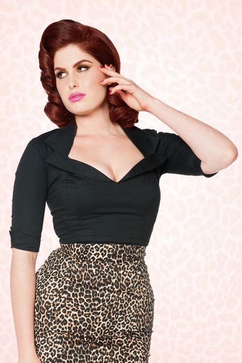 Pinup Couture 50s Doris Top Black 42 2719 1WB