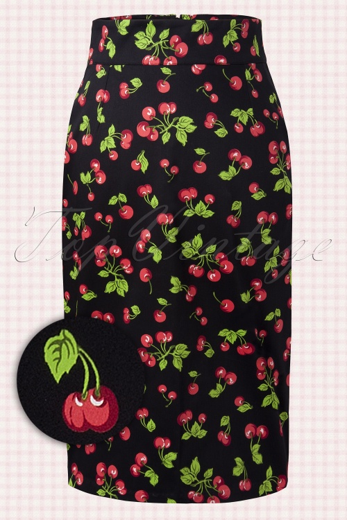 Pinup Couture Retro Cherry Pencil Skirt 10840 1W2