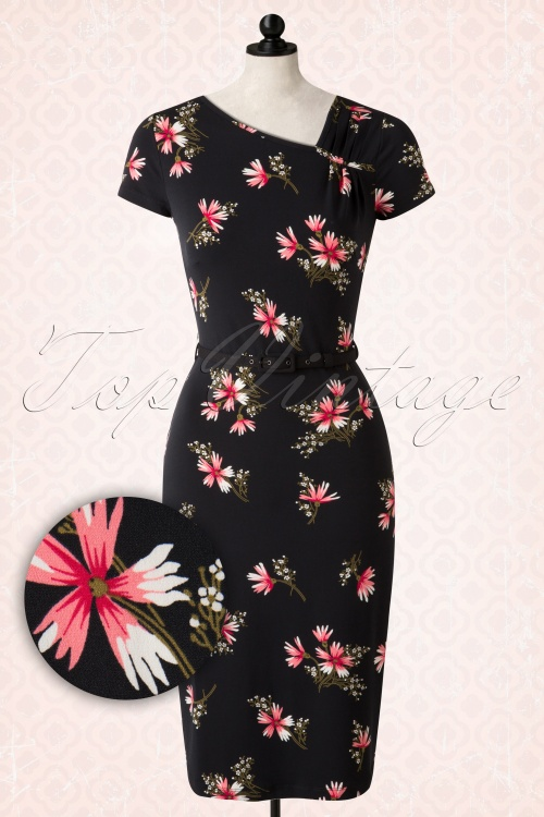 0aab399afb784e King Louie Shoulderpleated Floral Black Pencil Dress 100 14 15605 20150806  0005pop2
