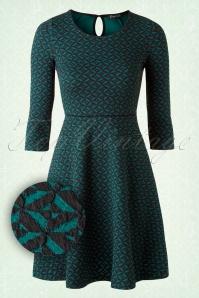 50s Tiles Circle Dress in Ponderosa and Black