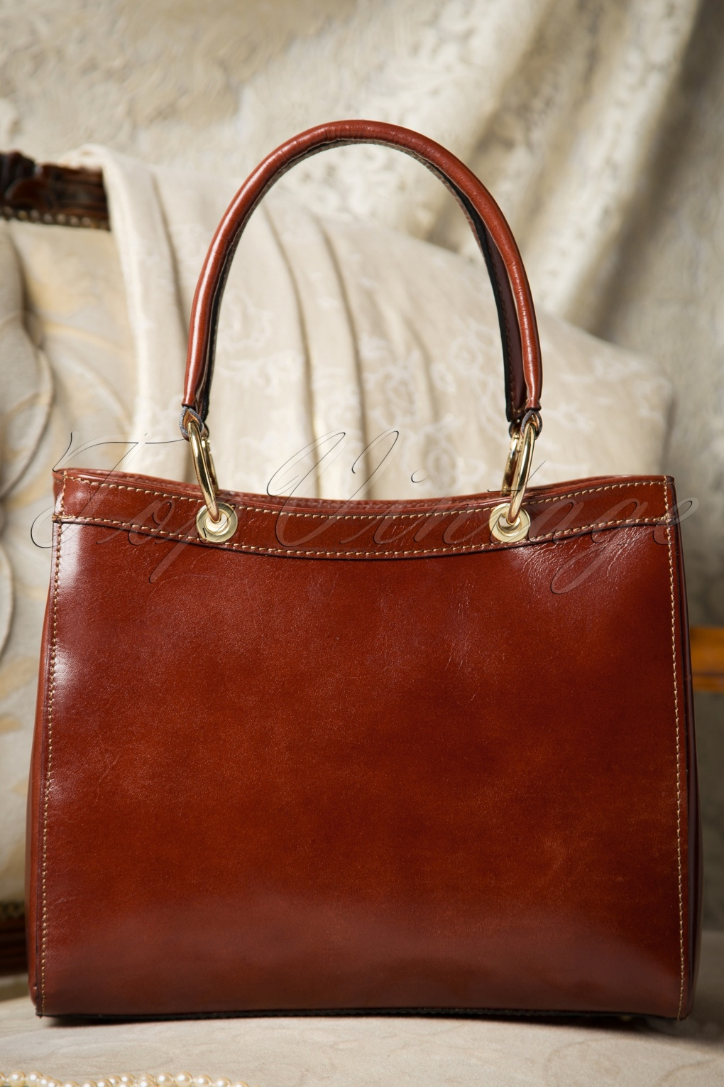 Retro Handbags, Purses, Wallets, Bags 60s Sadie Classy Brown Leather Handbag £63.65 AT vintagedancer.com