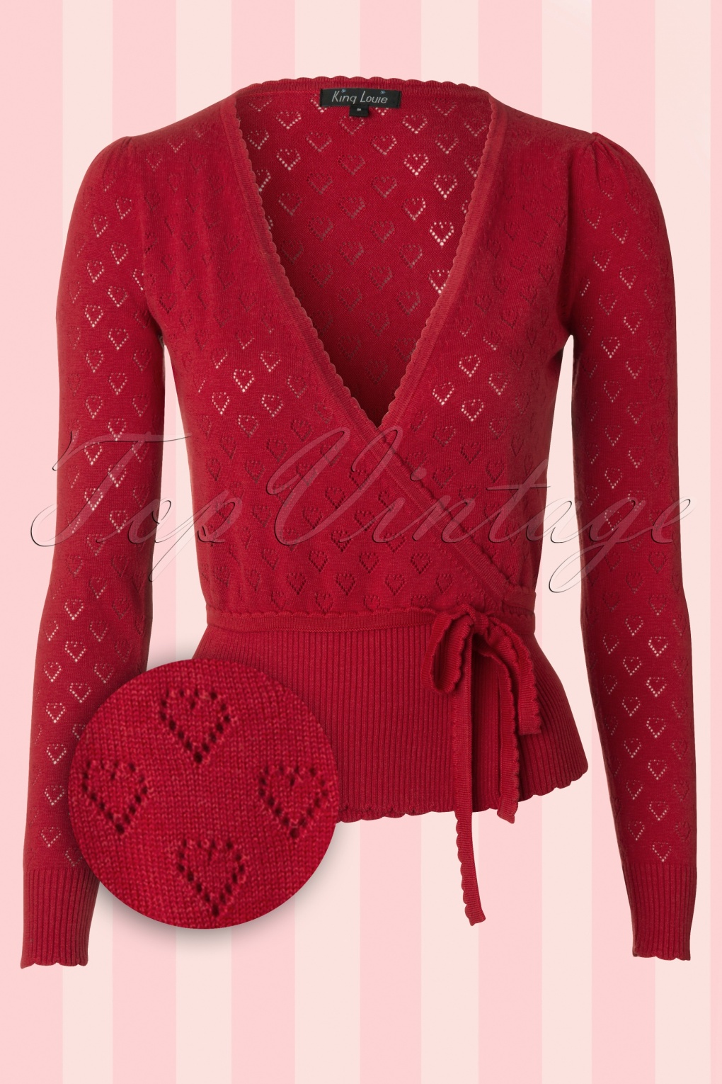 1940s Blouses, Shirts and Tops Fashion History 40s Wrap Heart Ajour Top in Red £69.45 AT vintagedancer.com