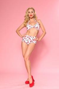 50s Classic Cherry Bikini in White