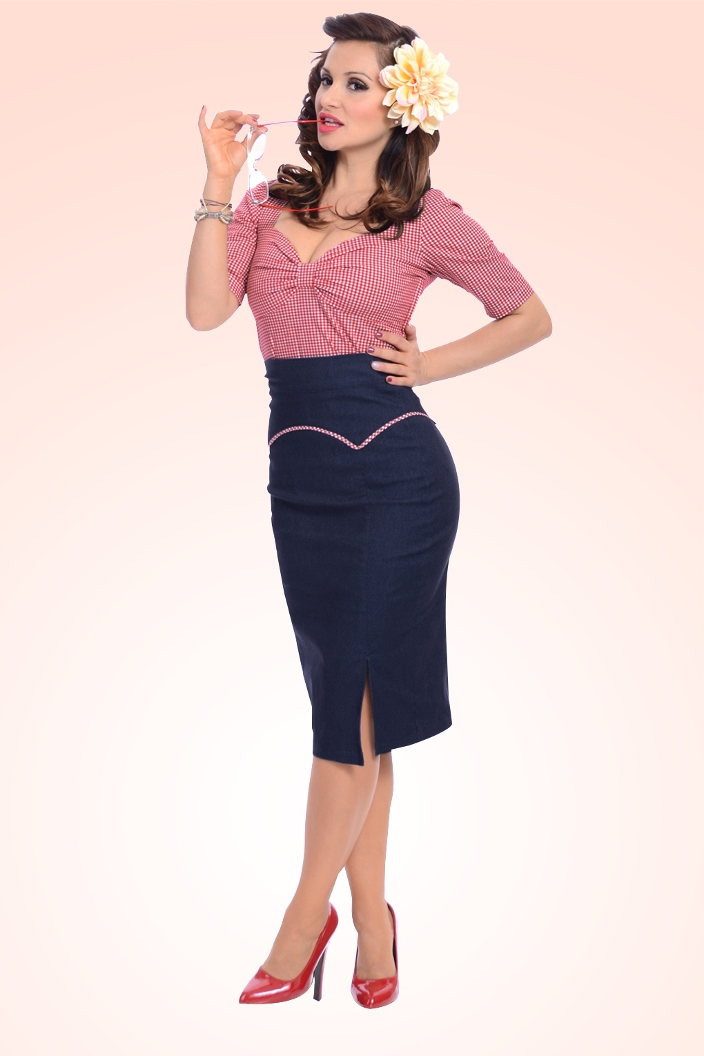 Yoked Up Pencil Skirt Denim Blue