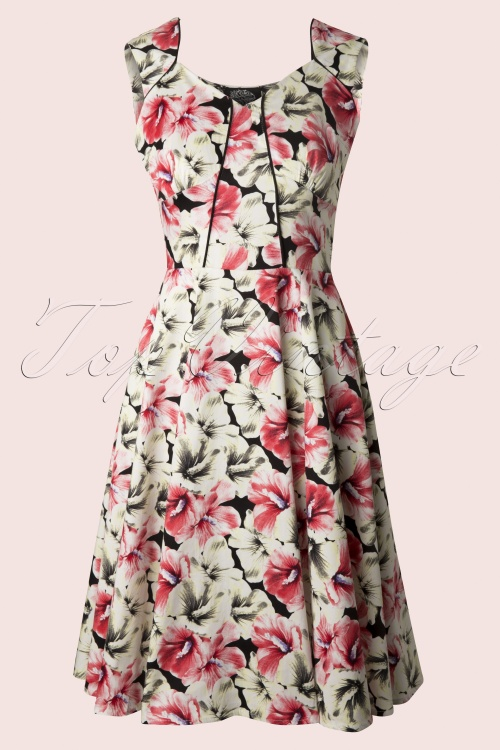 Hearts and Roses White Red Hibiscus Swing Dress 104 59 12922 20140319 0008 FrontW