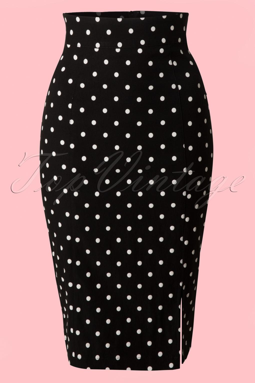 1950s Skirts; Pinup, Poodle, Pencil, Swing & Circle Skirts 50s Diva Polkadot Pencil Skirt in Black £54.14 AT vintagedancer.com