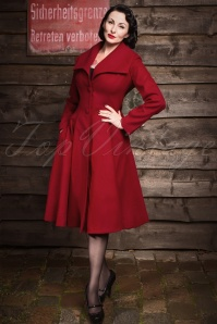 50s Coleen Swing Coat in Burgundy