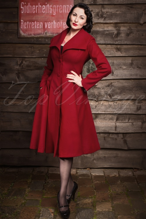 Bunny 50s Coleen Swing Coat in Burgundy 13455 01W