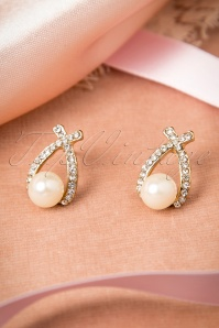 50s Diamond And Pearl Crossroad Earrings