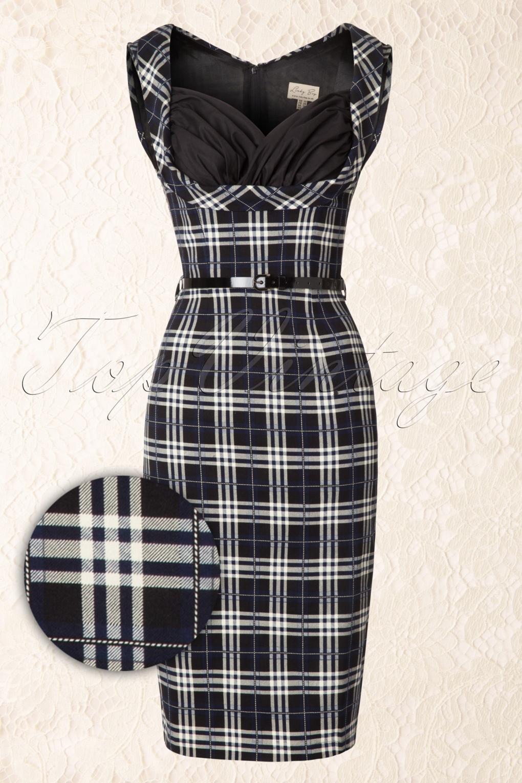 50s Vanessa Tartan Dress In Blue