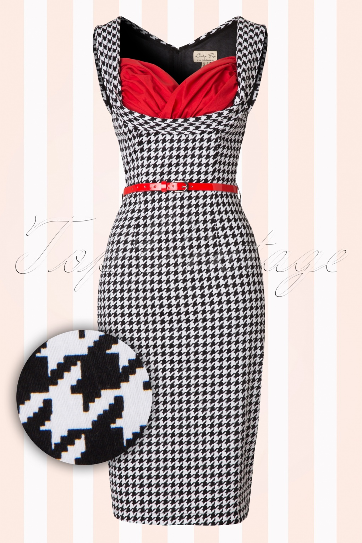 50s Vanessa Pencil Dress in Houndstooth