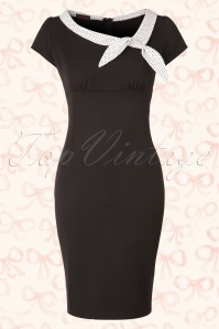 Hulahup Black White Pencil Dress Polkadot Bow  16377 20150625 002W