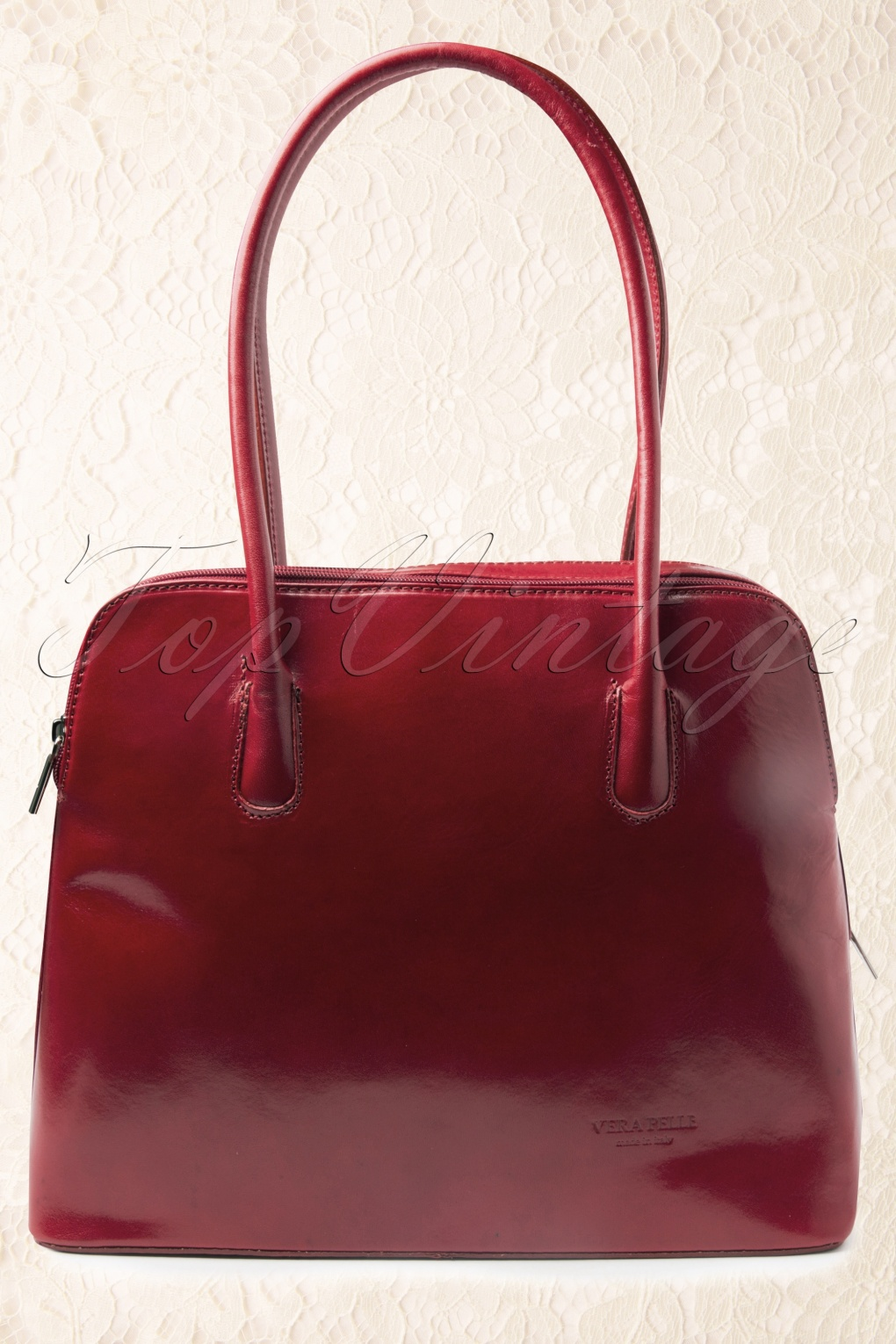 Retro Handbags, Purses, Wallets, Bags 70s Classic Bag in Cherry Red genuine leather £59.41 AT vintagedancer.com