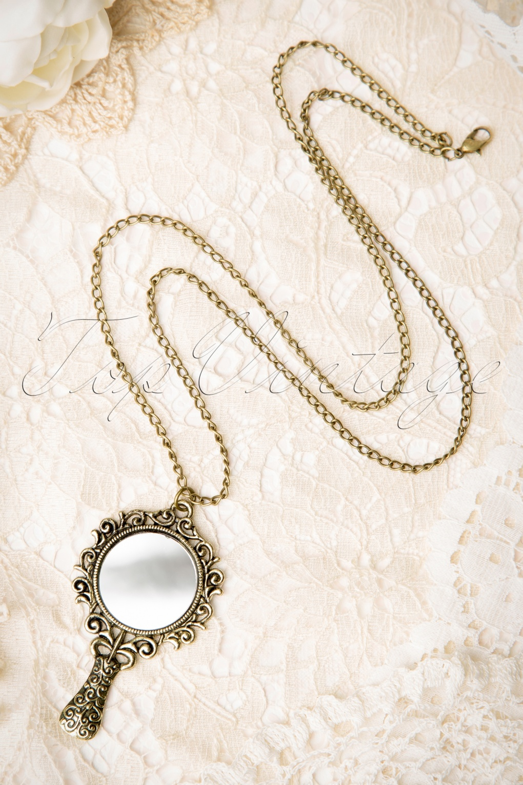 necklace boho with pistol simple vintage products antique mirror silver fribble