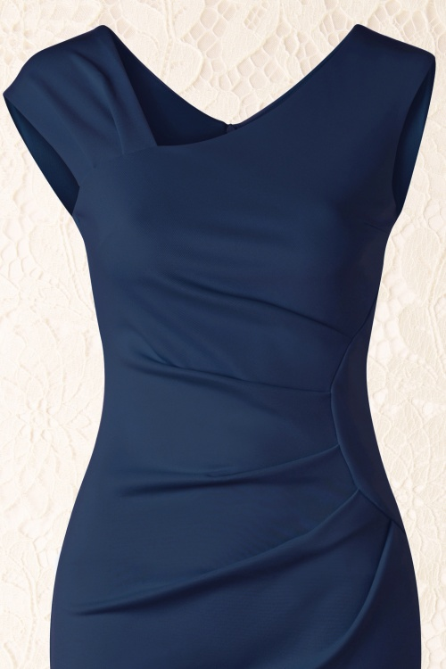 Donkerblauwe Jurk Bruiloft.50s Gwendolyn Pencil Dress In Navy