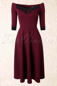 50s Noreen Swing Dress in Wine Red and Black Crêpe