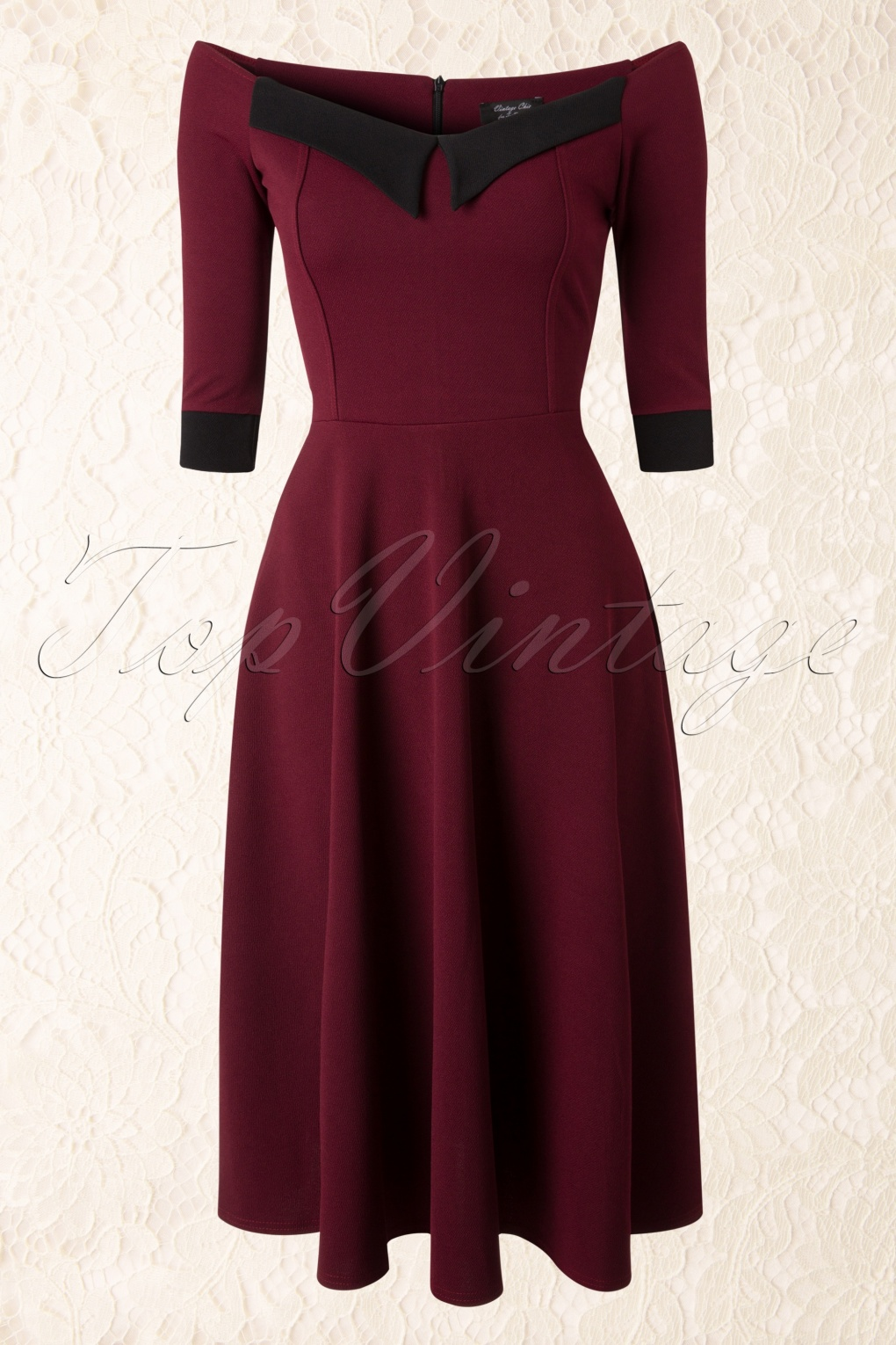 50s Noreen Swing Dress In Wine Red And Black Cr 234 Pe