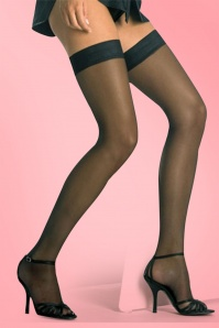 Miami classic hold up stockings black satin