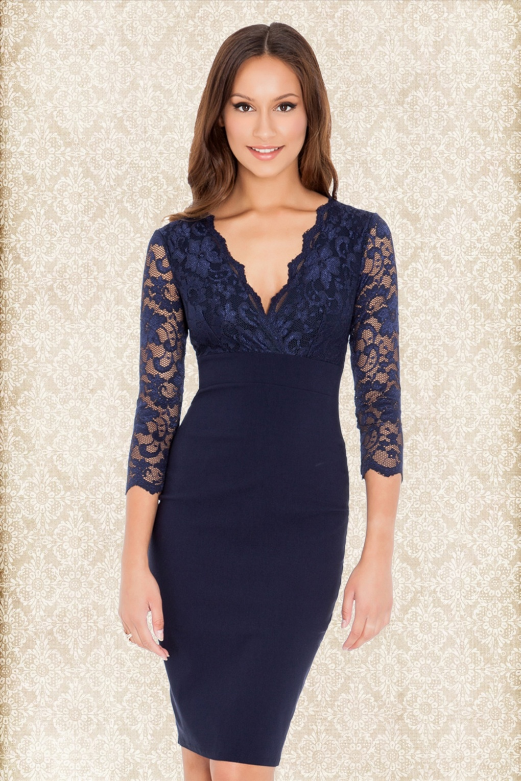 Long Sleeve Navy Blue Dress