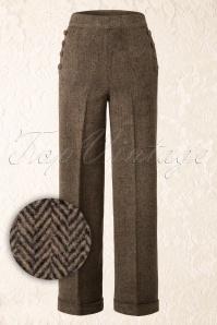 40s Take A Walk Trousers in Brown Wool