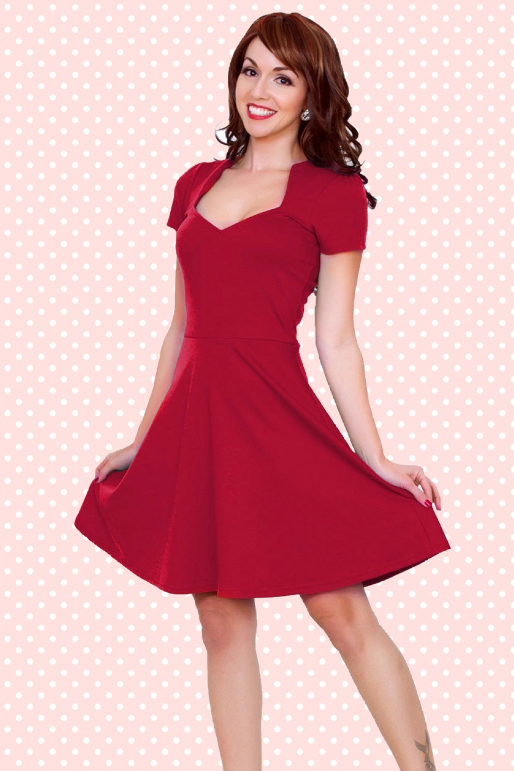 50s All Angles Dress in Red Red Dresses Om