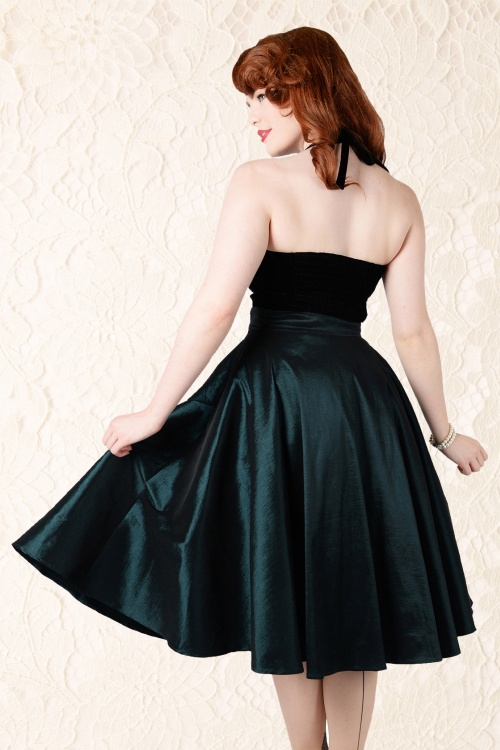 c45e1fbfe2 Collectif Clothing Bella Occasion Swing Skirt Green 14395 02WL