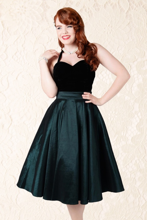 eafb860ce9 Collectif Clothing Bella Occasion Swing Skirt Green 14395 01WL