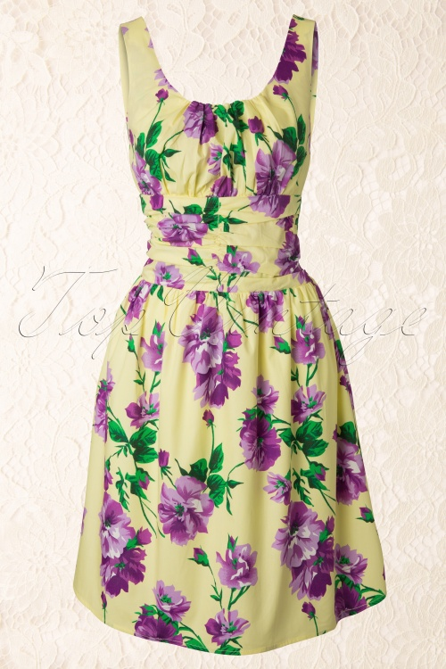 Vixen  50s Vintage Green Yellow Purple Dress 105 89 12123 20140110 0004W
