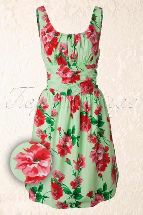 Vixen  50s Vintage Green Red Flowers Dress 105 49 12124 20140110 0005WAV