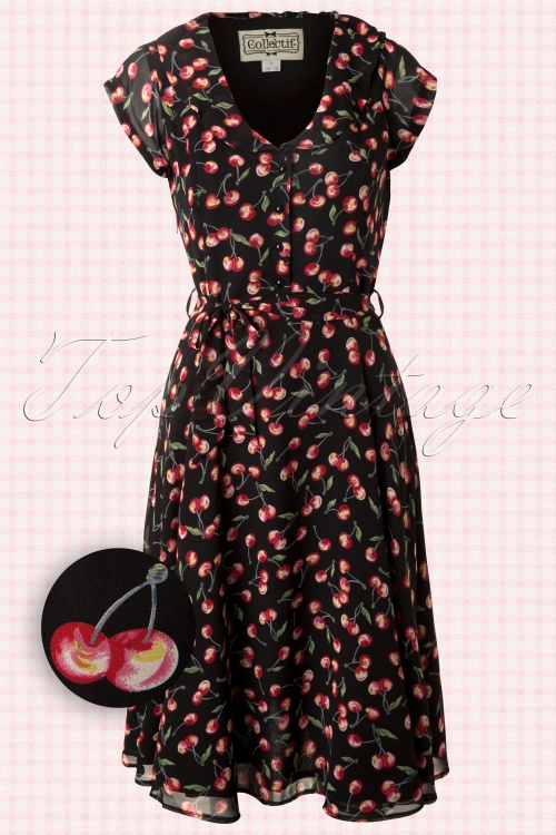 Collectif Clothing  Violet Cherry Dress Black 102 14 12759 20140226 0004WV