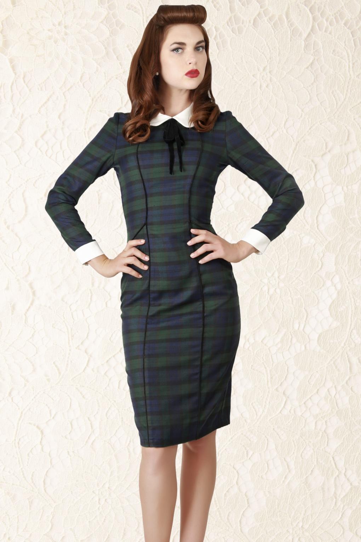 40s Lisa Retro Blackwatch Check Pencil Dress