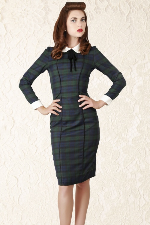 Lisa Blackwatch Check Pencil Dress1A