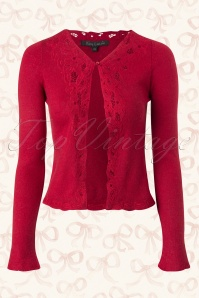 40s Brocade Cardigan in Cranberry Red Wool