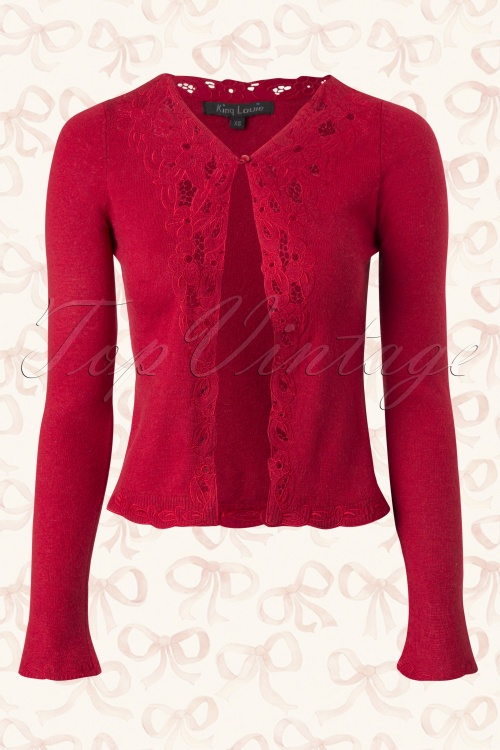 King Louie Cranberry Red Lace Floral Cardigan 140 20 15540 20150908 0007W
