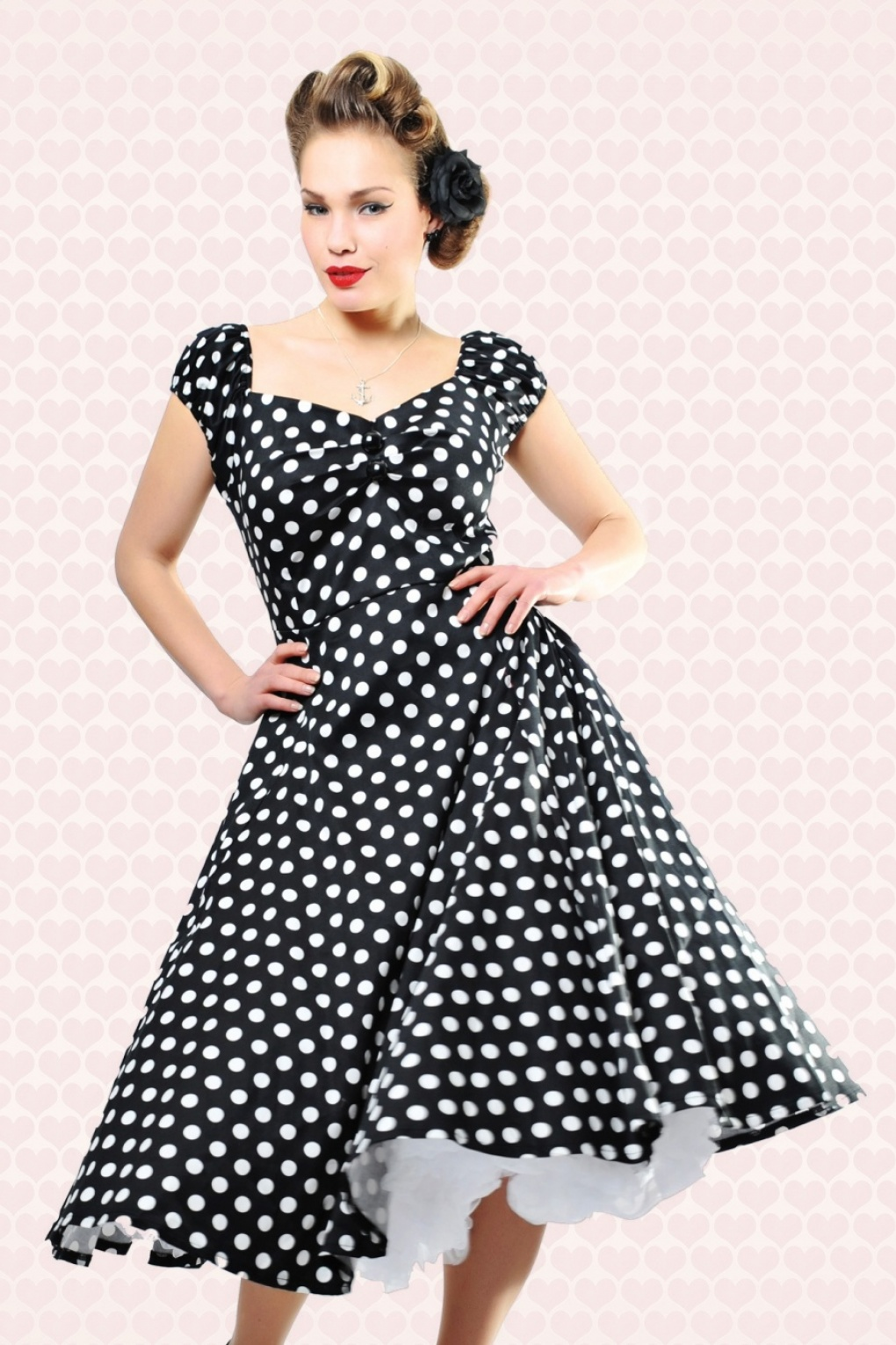 1950s Polka Dot Dresses 50s Dolores Doll dress Black White polka swing dress £60.09 AT vintagedancer.com