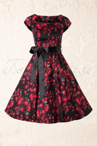 50s Pretty Rose Swing Dress in Black