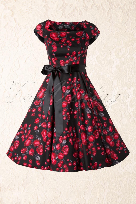 50s Pretty Rose Swing Dress In Black