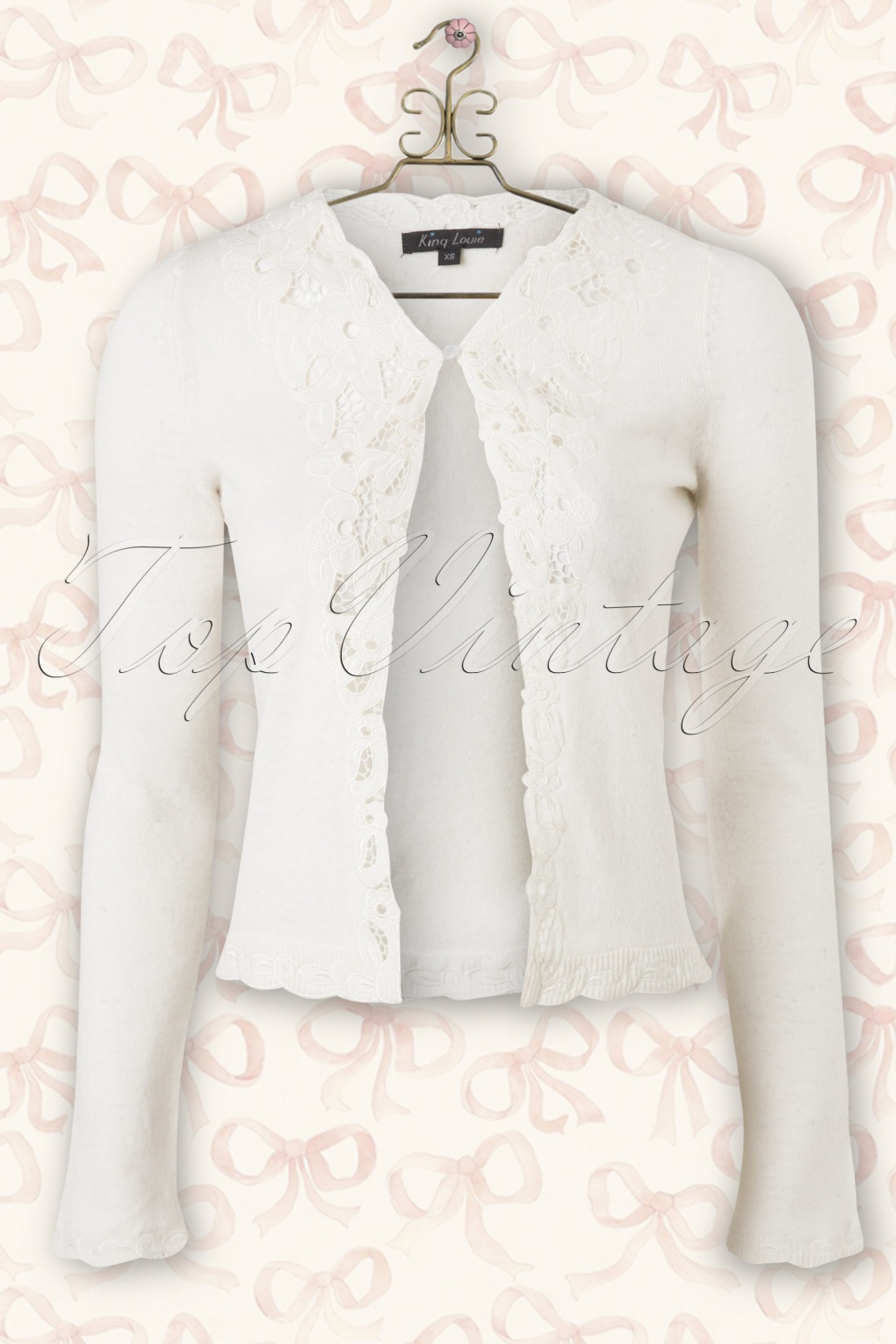 40s Brocade Cardigan in Cream Wool