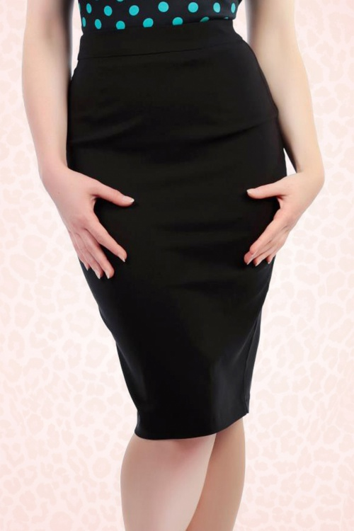 Collectif Clothing Polly Plain Black Skirt 120 10 16177 5
