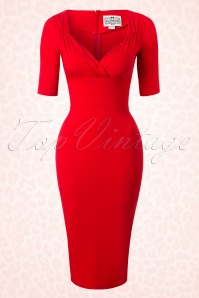Collectif Clothing Trixie Red Pencil Dress 100 20 16112 20150911 0006W