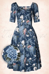 Collectif Clothing Dolores Garden Hals Sleeve Blue Swing Dress 16114 20150624 0006W1
